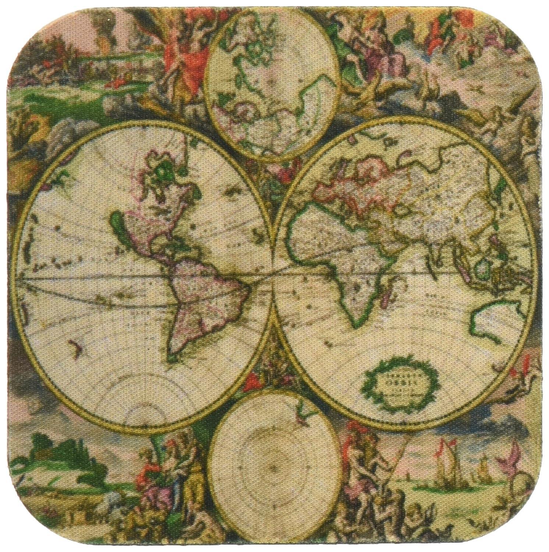 3dRose cst/_7425/_3 World Map 1689-Ceramic Tile Coasters Set of 4