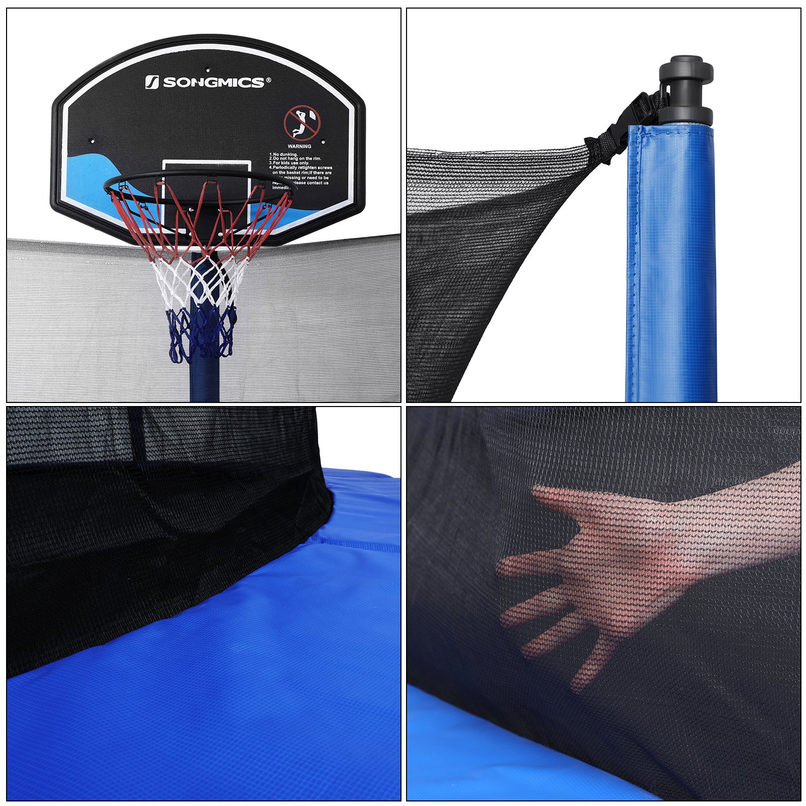 SONGMICS Outdoor Trampoline 14-Feet for Kids with Basketball Hoop and Backboard Enclosure Net Jumping Mat and Safety Spring Cover Padding TÜV Rheinland Certificated According to ASTM and GS USTR14BU by SONGMICS (Image #8)
