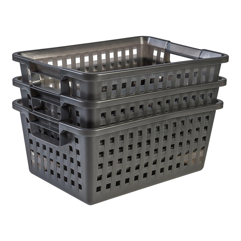 IRISVM-20Plastic Storage Basket 25.5x 19.5x 20cm Graphite Iris Ohyama 135761