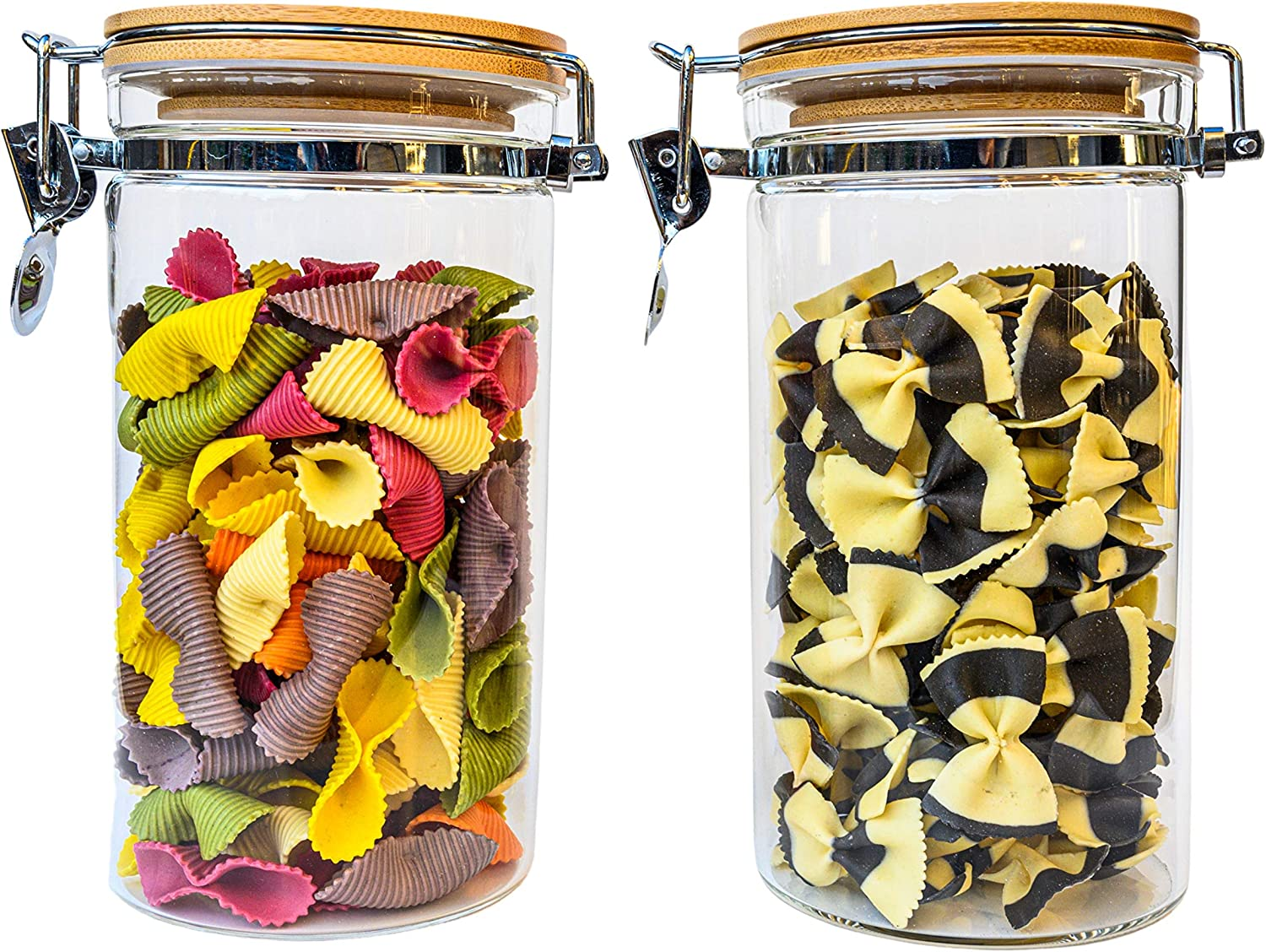 Airtight Glass Canister Set of 2 with Hinged Lids - Large Kitchen Storage Containers for Flour, Coffee, Sugar, Cereal, Pasta, Spice, Candy, Tea, Spaghetti - Glass Jars with Bamboo Lids - 2 pcs Set