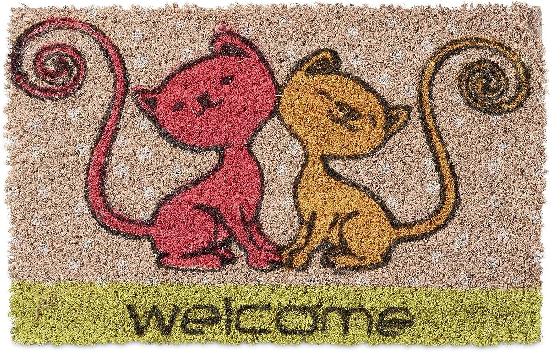 Relaxdays Niños Childrens gato Mini Felpudo fibra de coco con tema como Bienvenido Mat ladrón