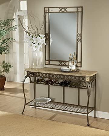 wrought iron table w fossil stone top brookside