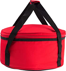 Insulated thermal food carrier with handles and a zip around closure for easy carrying for casseroles, pies, lunch, potluck, Picnics and more to help keep food warm (Red, Round)
