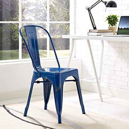 Beau WE Furniture Metal Cafe Chair   Navy Blue
