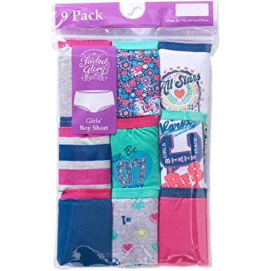 89cd47693ab0 Amazon.com: Faded Glory Girls' 9-Pack Assorted Prints & Solids Boy ...