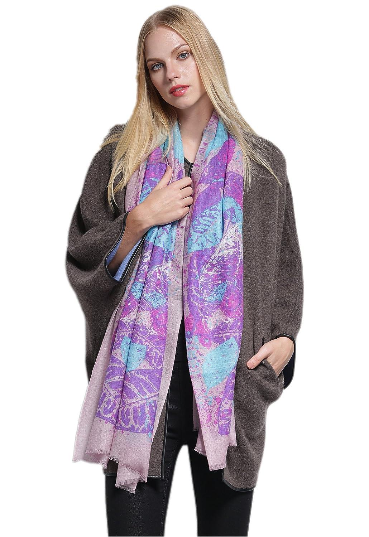 Prettystern - 200cm 100% Wolle leicht Pashmina Schal mit Druck - violett tropical Blä tter