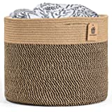 INDRESSME Large Jute Basket - Woven Storage Basket Blanket Basket in Living Room Pillows Storage Bins with Handles for Toys P