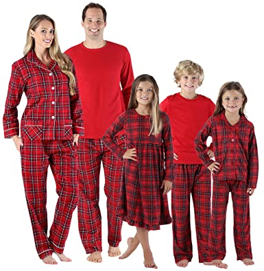 6ef4e689a35 SleepytimePjs Holiday Family Matching Red Plaid Flannel Thermal Pajamas PJs  Sets for The Family Women s Lounger