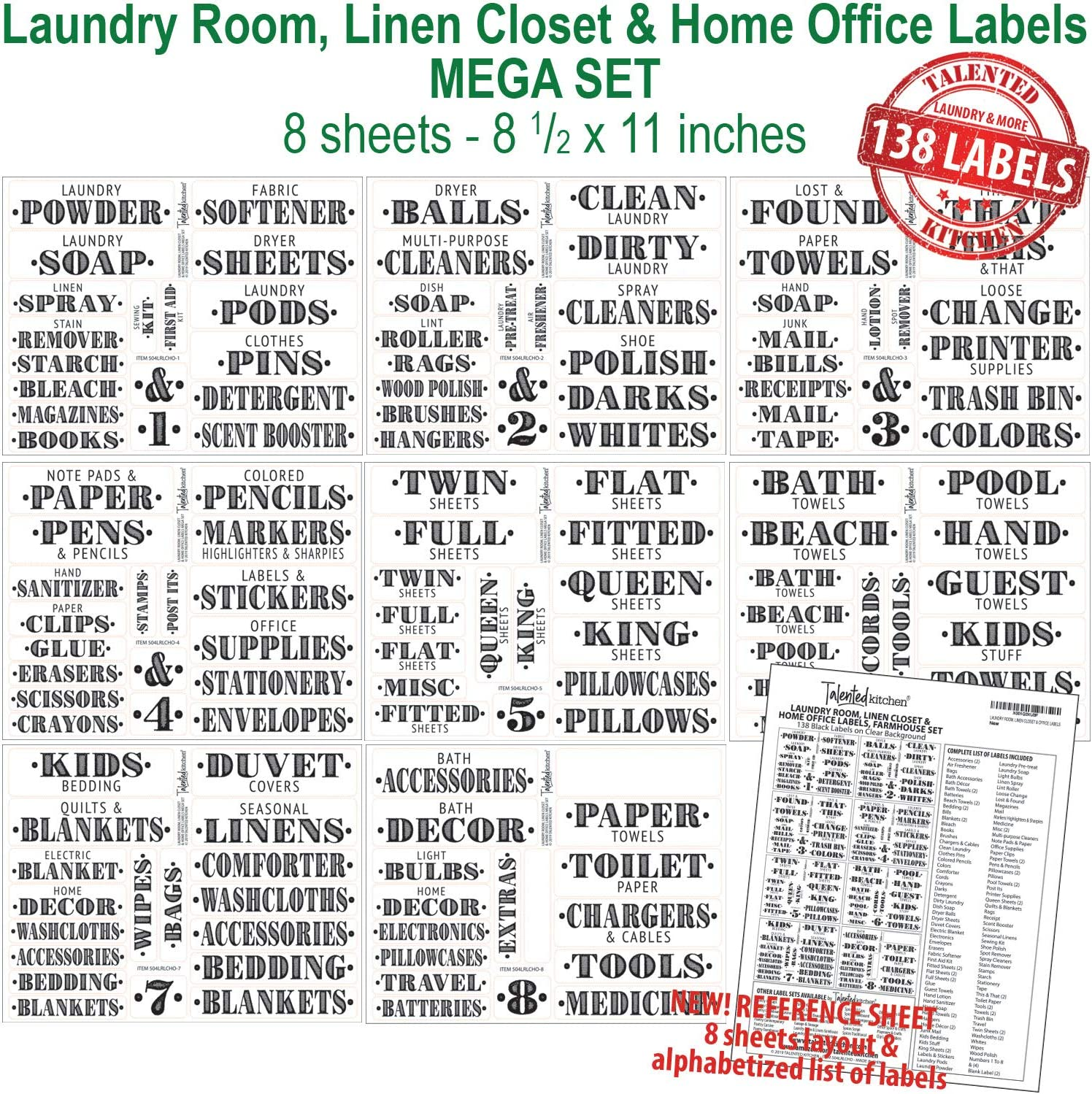 Talented Kitchen 138 Laundry Room Labels Linen Closet Office Organization Labels Farmhouse Printed Stickers Water Resistant Canister Bin Labels To Declutter Spaces Laundry Linens 138 Labels Office Products Amazon Com