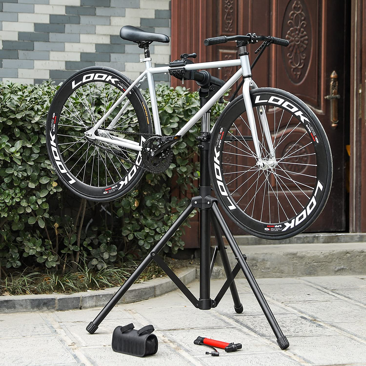 Portable SONGMICS Improved Bike Repair Stand with Aluminum Alloy Arm Large Tool Tray Full Features Stronger Durable Compact SBR03B