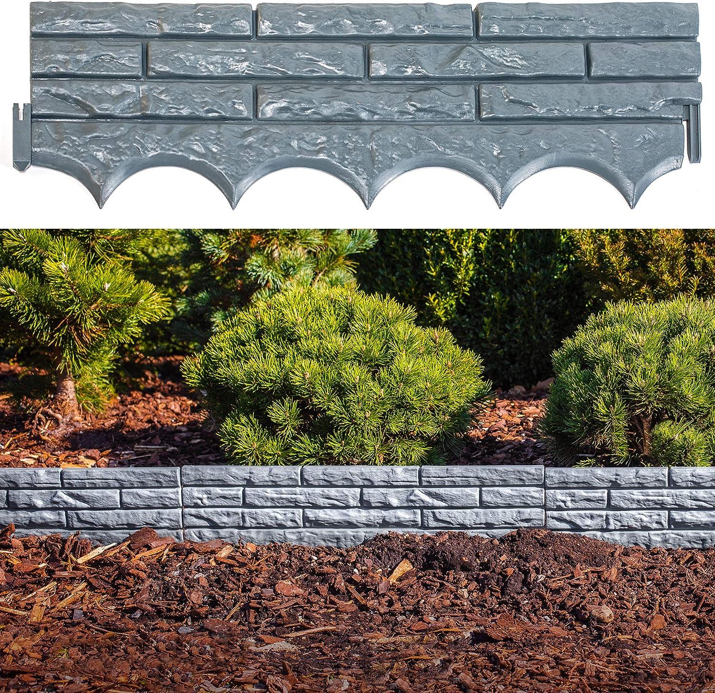 UPP® muro, valla de jardín, aspecto de piedra I pared para canteros, delimitador decorativo de jardín (5 piezas, 2.9m total): Amazon.es: Jardín