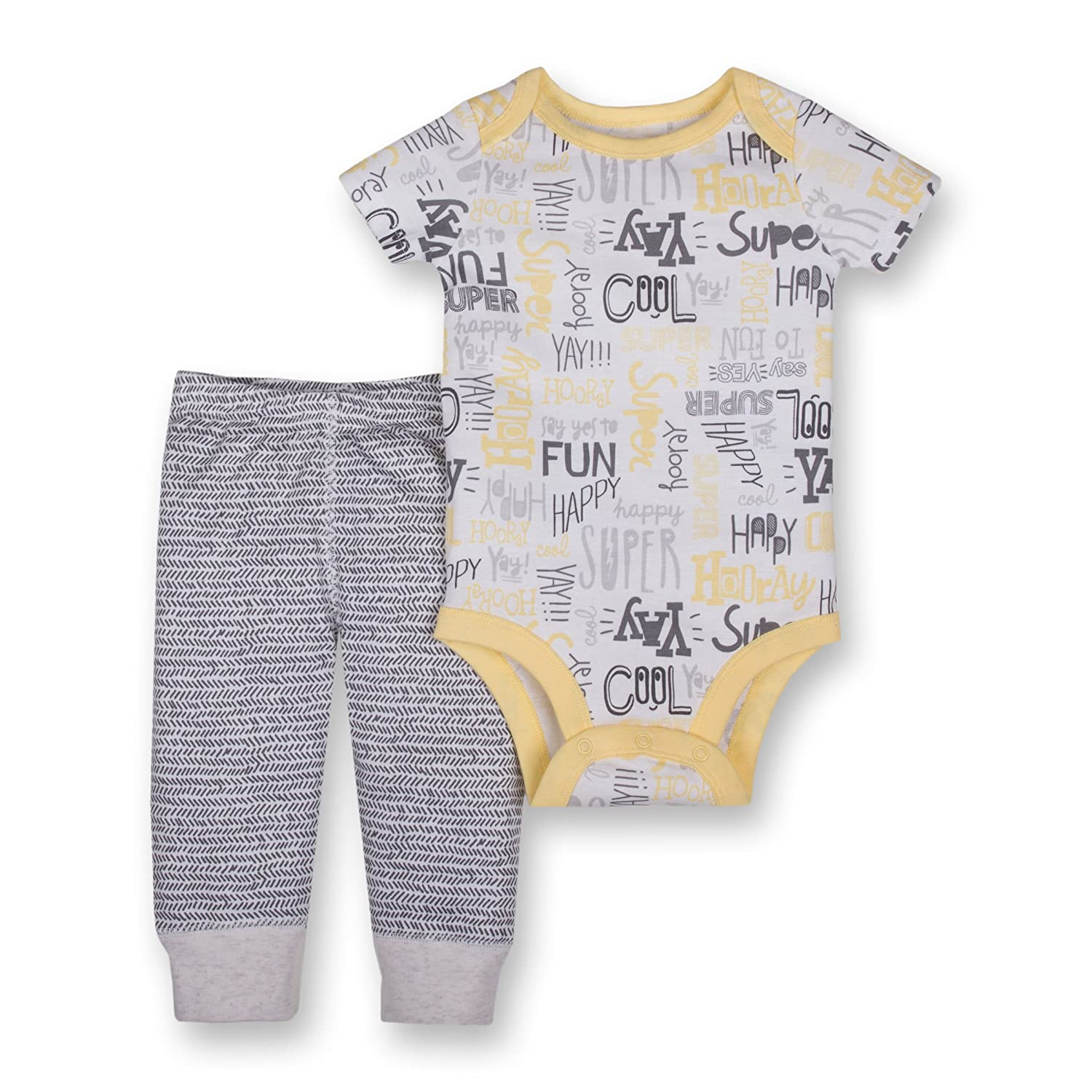 Lamaze Baby Boys Organic 2 Piece Bodysuit and Pant Set