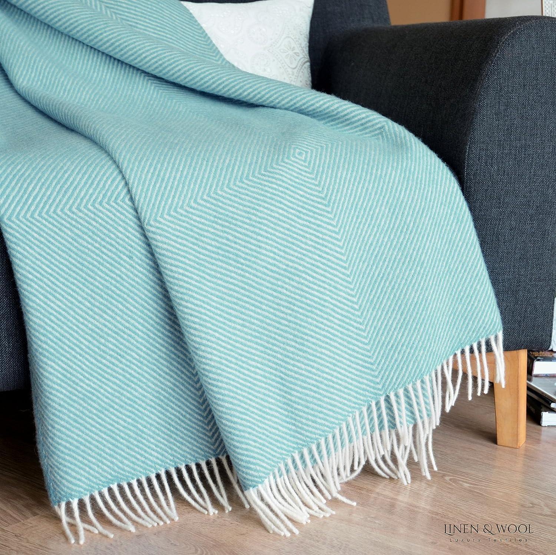 Linen /& Cotton Decke Wolldecke Wohndecke Tagesdecke Alaska mit Rautenmuster 100/% Reine Neuseeland Wolle Braun 140 x 220cm Sofadecke//Bett/überwurf//Kuscheldecke///Überwurf Couch Sofa Bett//Plaid