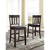 "Ashley Haddigan 26"" Upholstered Counter Stool in Dark Brown (Set of 2)"