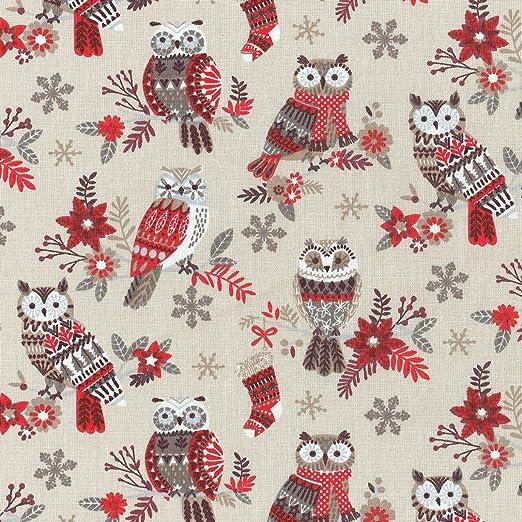 Textiles français Tela Navidad de algodón Estampada - Búhos ...