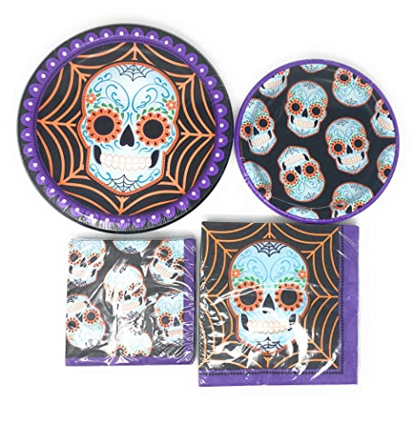 Amazon.com: Mardi Gras Day of the Dead Party Creations Plate and Napkin Bundle Serves 8: 8 Large and Small Plates, 16 Large and Small Napkins: Health ...