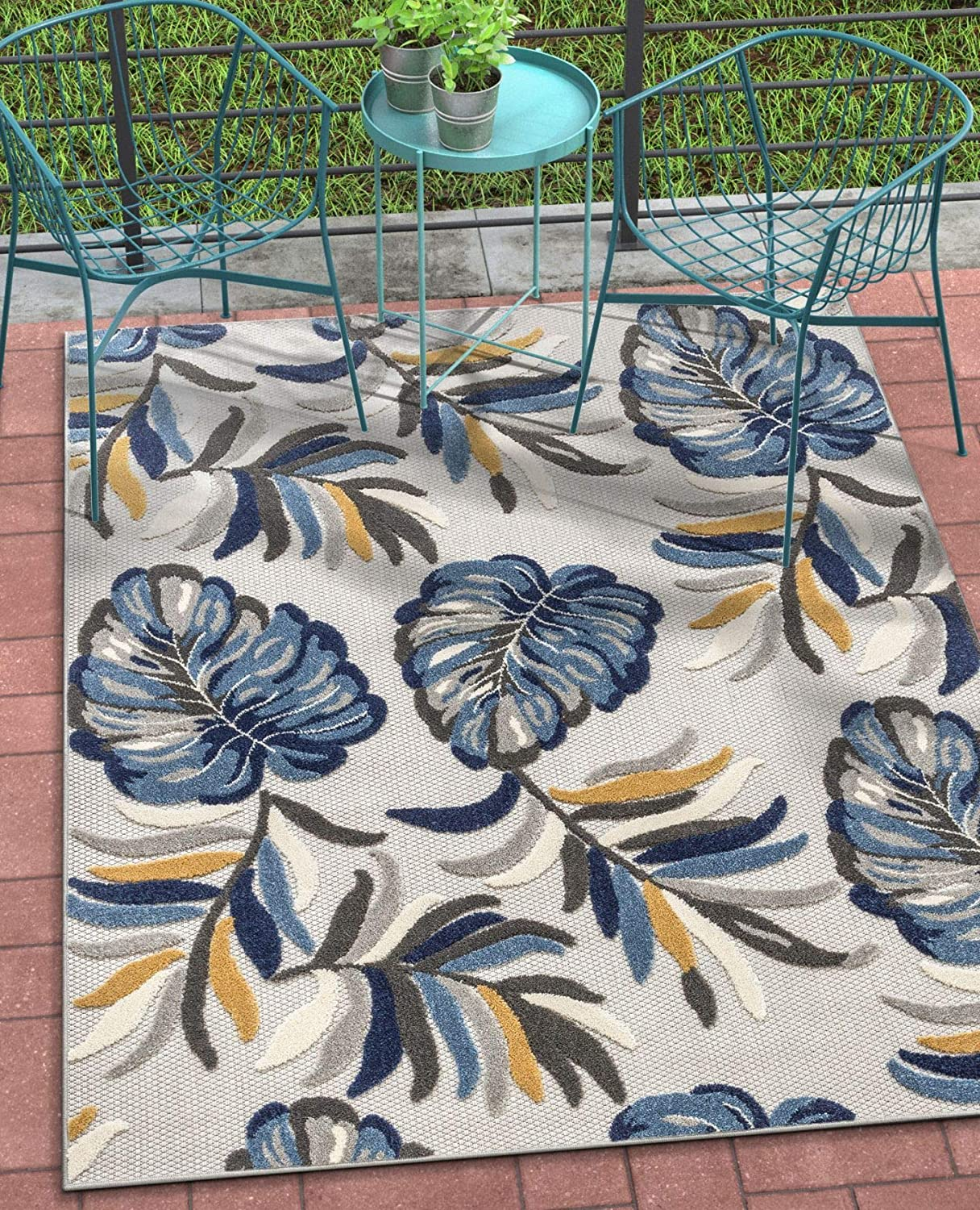 """Well Woven Moira Floral Blue Indoor/Outdoor Area Rug 8x11 (7'10"""" x 9'10"""") High Traffic Stain Resistant Modern Carpet"""