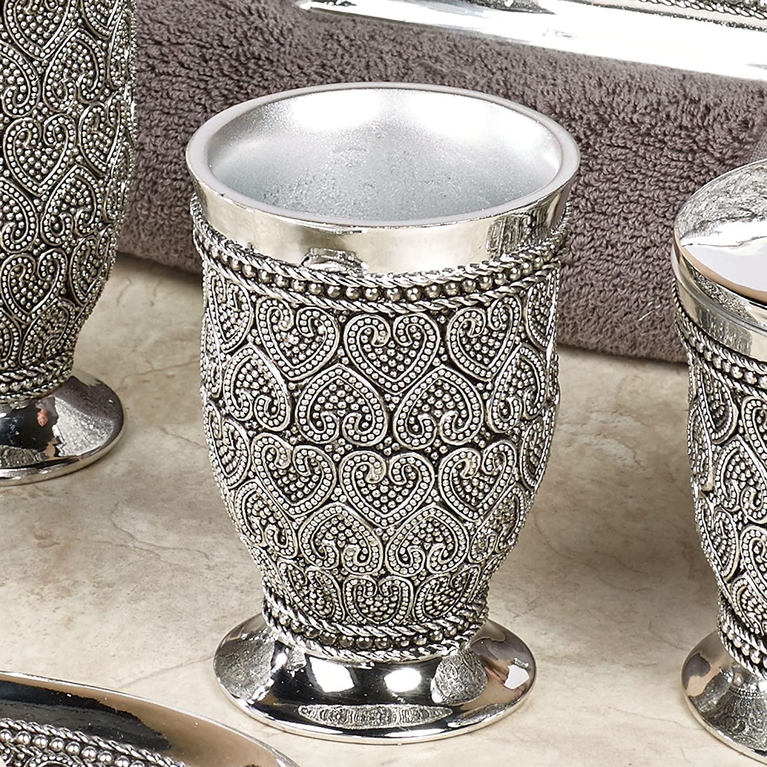 Dorm Desk and Vanity Shiny Finish Chrome Small nu steel BHT5H Beaded Heart Decorative Makeup Brush Cup Holder Tumblers for Bathroom Countertops