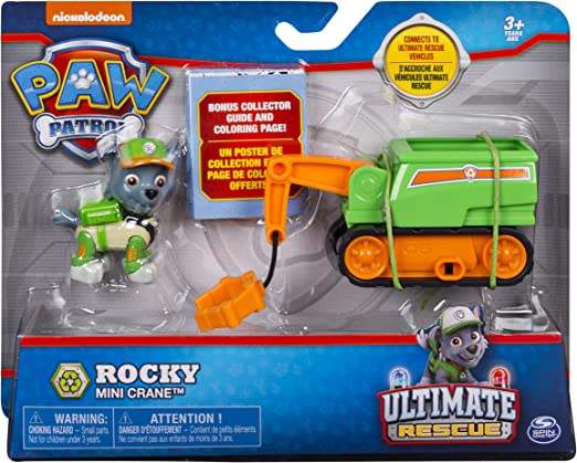 PAW Patrol Ultimate Rescue Rockys Mini Crane Cart with Collectible Figure, Ages 3 and Up
