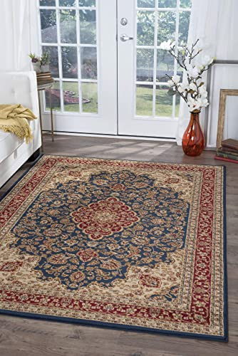 Kirsten Traditional Oriental Navy Rectangle Area Rug, 6.7 x 10