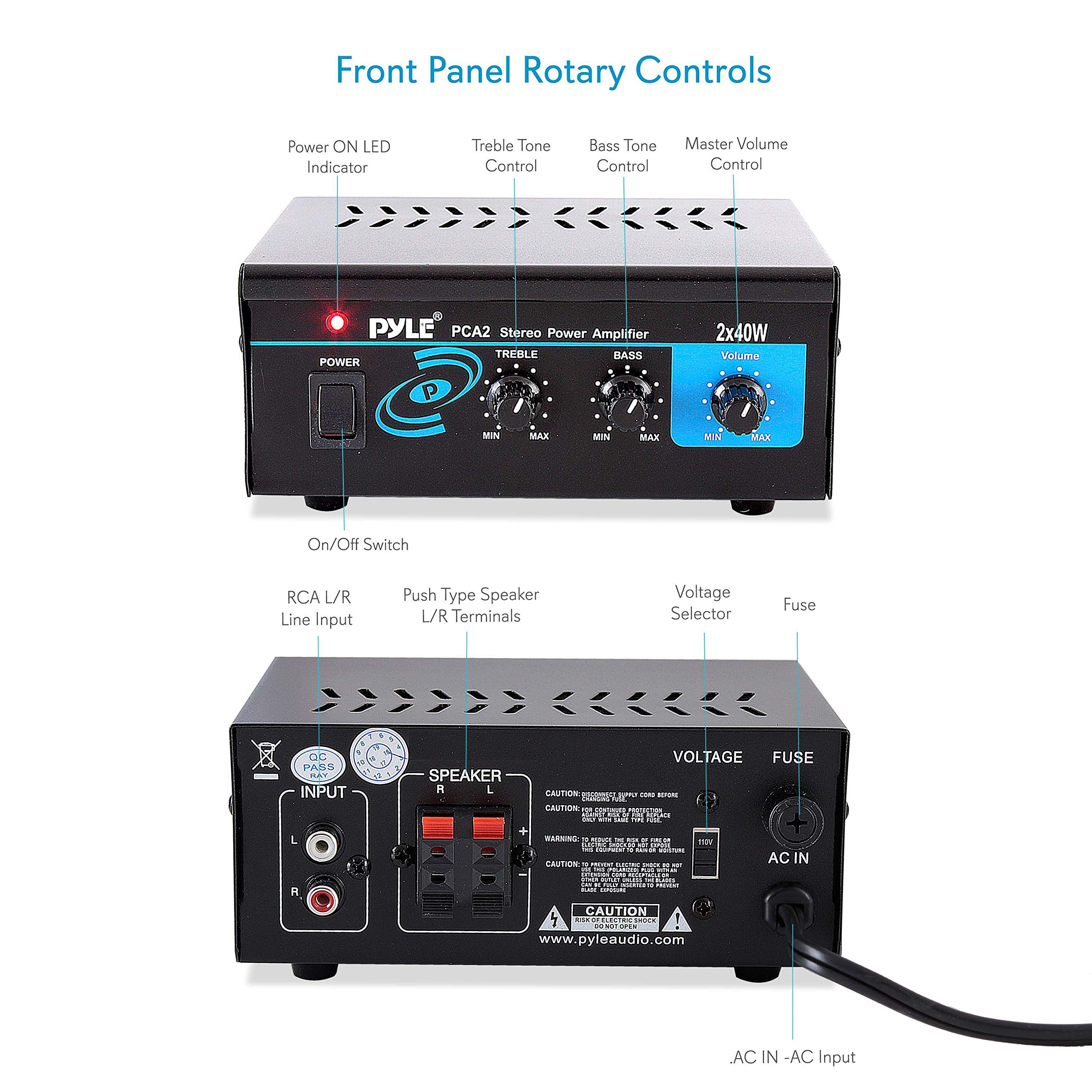 Home Audio Power Amplifier System - 2X40W Mini Portable Dual Channel  Surround Sound Stereo Receiver Box w/ LED - For Amplified Subwoofer  Speakers, CD