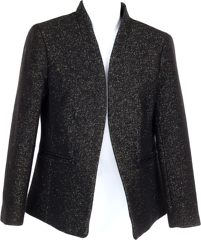 J Crew Womens Going Out Blazer Jacket Tinsel Tweed Black Wool Blend 4 K3051