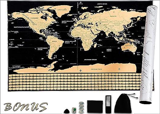 Mapa del mundo para rascar formato XXL con banderas-Oro Negro-Nouméro-(82.5cm/59.5cm)-Nuevo Edición Premium-Regalo original y divertido-¡Bono gratis!Mapa detallado:ciudad capital histórica-sitios: Amazon.es: Oficina y papelería