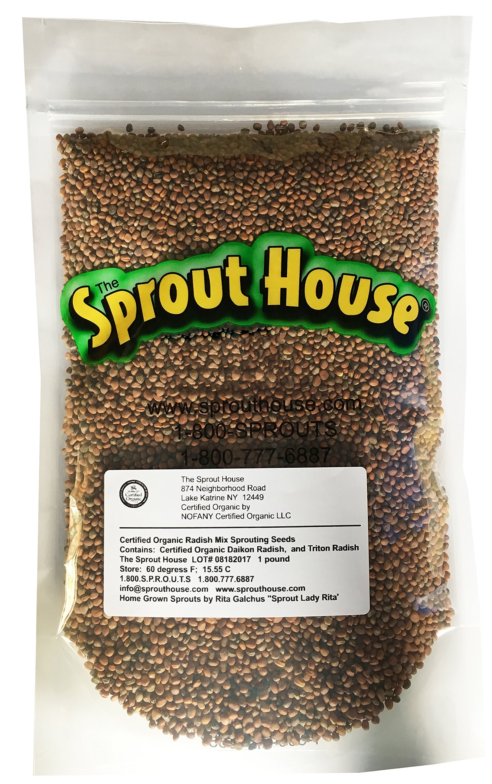 The Sprout House Certified Organic Non-gmo Sprouting Seeds Radish Mix Daikon Radish, And/or Triton Radish (Purple Stems/green Leaves) And/or China Red Radish 1 Pound by The Sprout House