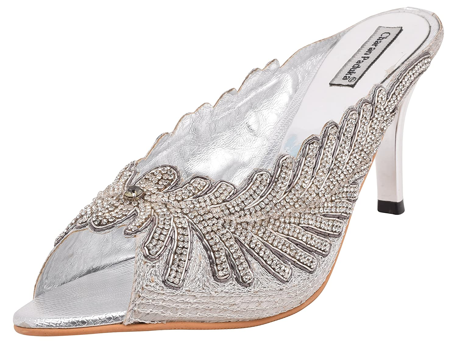 01a6d8bbf7ab06 Charan Paduka Women s Silver Beaded High Top Shoes- 11 U.K  Buy Online at  Low Prices in India - Amazon.in