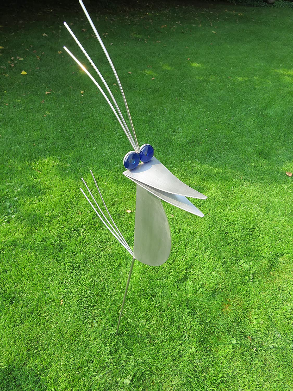 Garten Skulptur 1m Granitvogel V2A Edelstahl Vogel