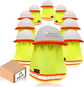 KwikSafety (Charlotte, NC) VADER (10 Pack) DURABLE ELASTIC Hard Hat Sun Shade High Visibility Cooling Mesh Contrasting Reflective Strip Regular Brim Neck Protection Construction Helmet Sun Shield