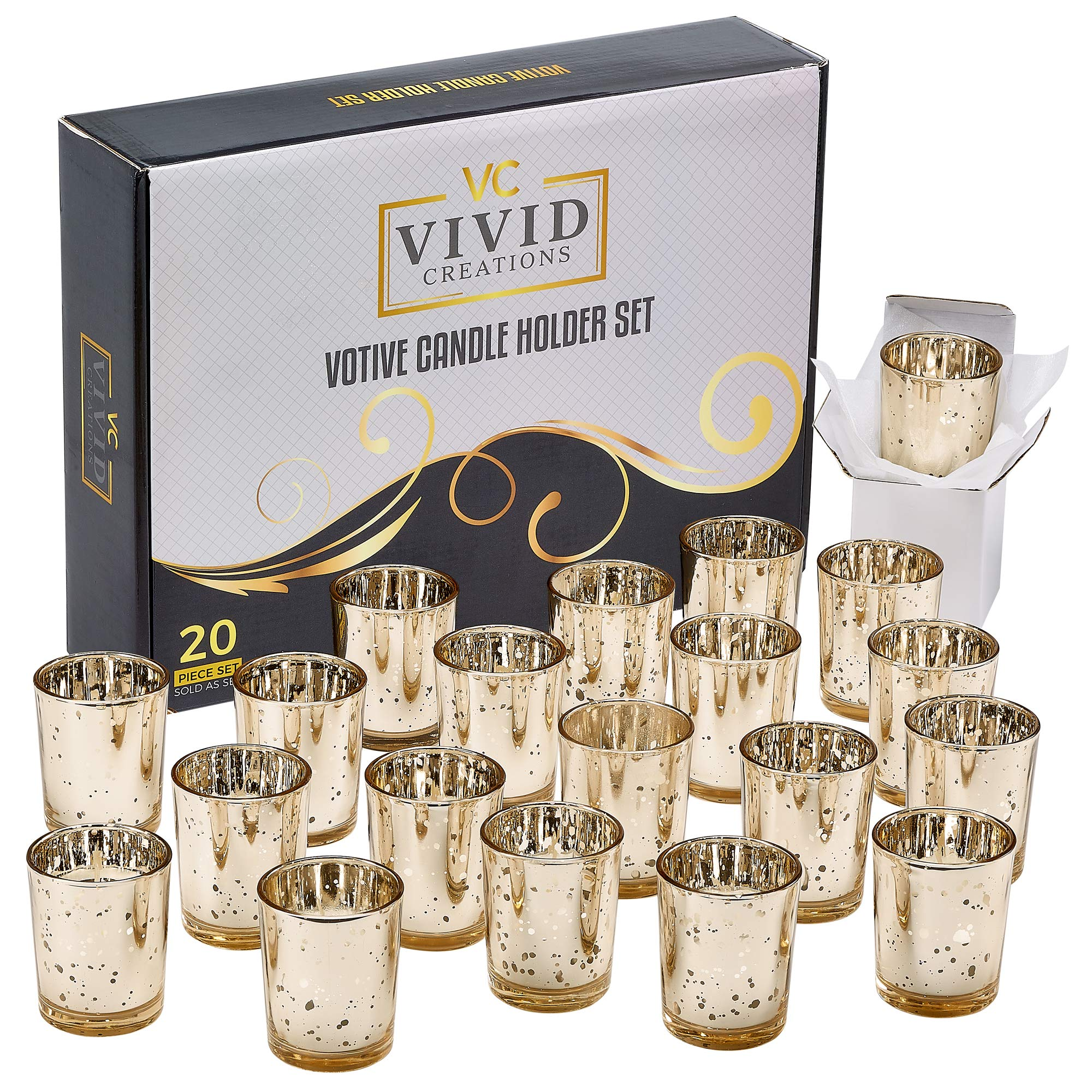 Vivid Creations Gold Votive Candle Holders Bulk (2.75'' H) - Set of 20 Mercury Speckled Glass Votive Tealight Candle Holder for Weddings, Parties and Home Decor.