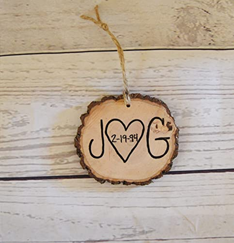 wood tree slice christmas ornament couple initials anniversary gift wedding favors