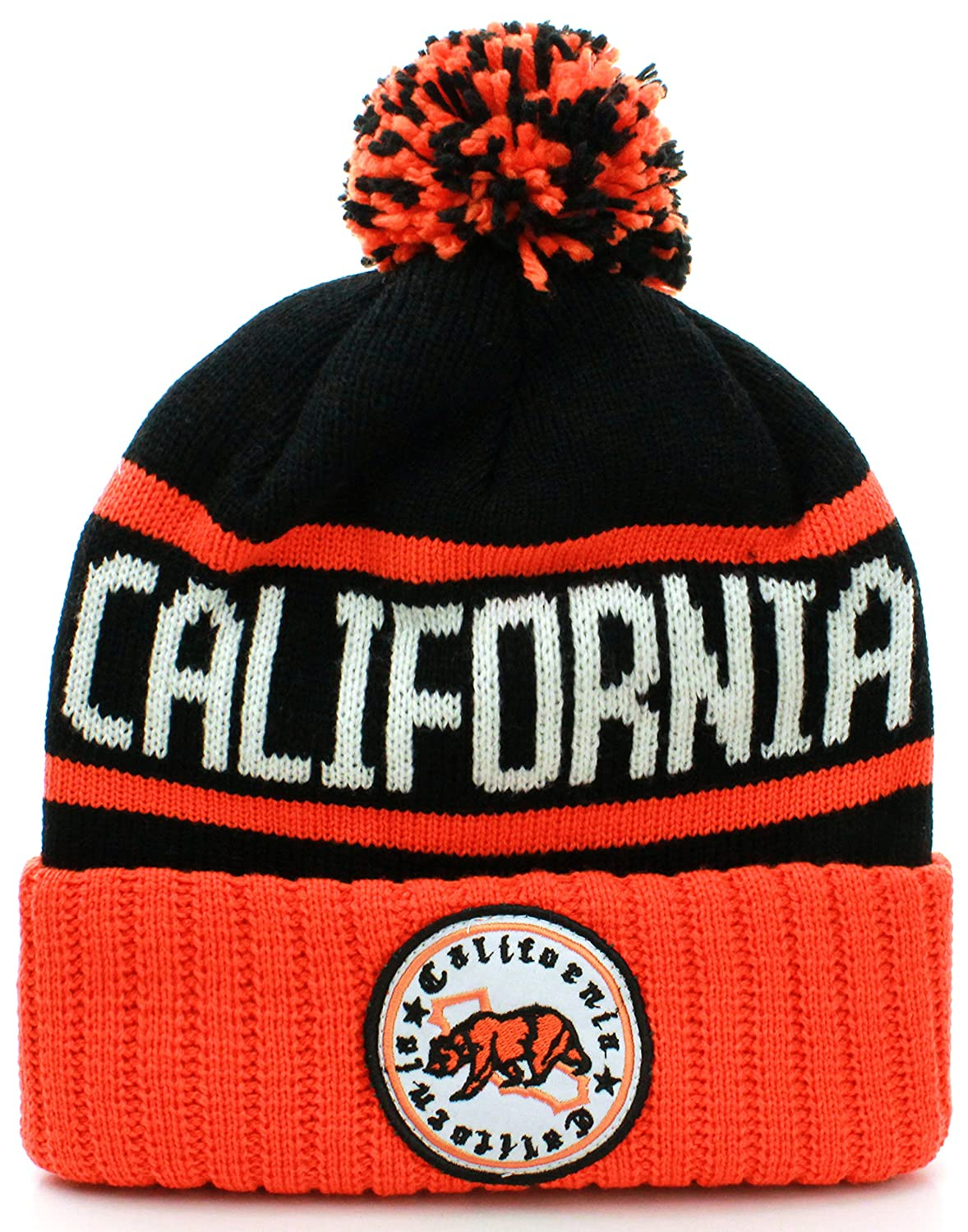 0efdb5191d8 Absolute Clothing California Republic Cuff Beanie Cable Knit Pom Pom Hat Cap  at Amazon Men s Clothing store