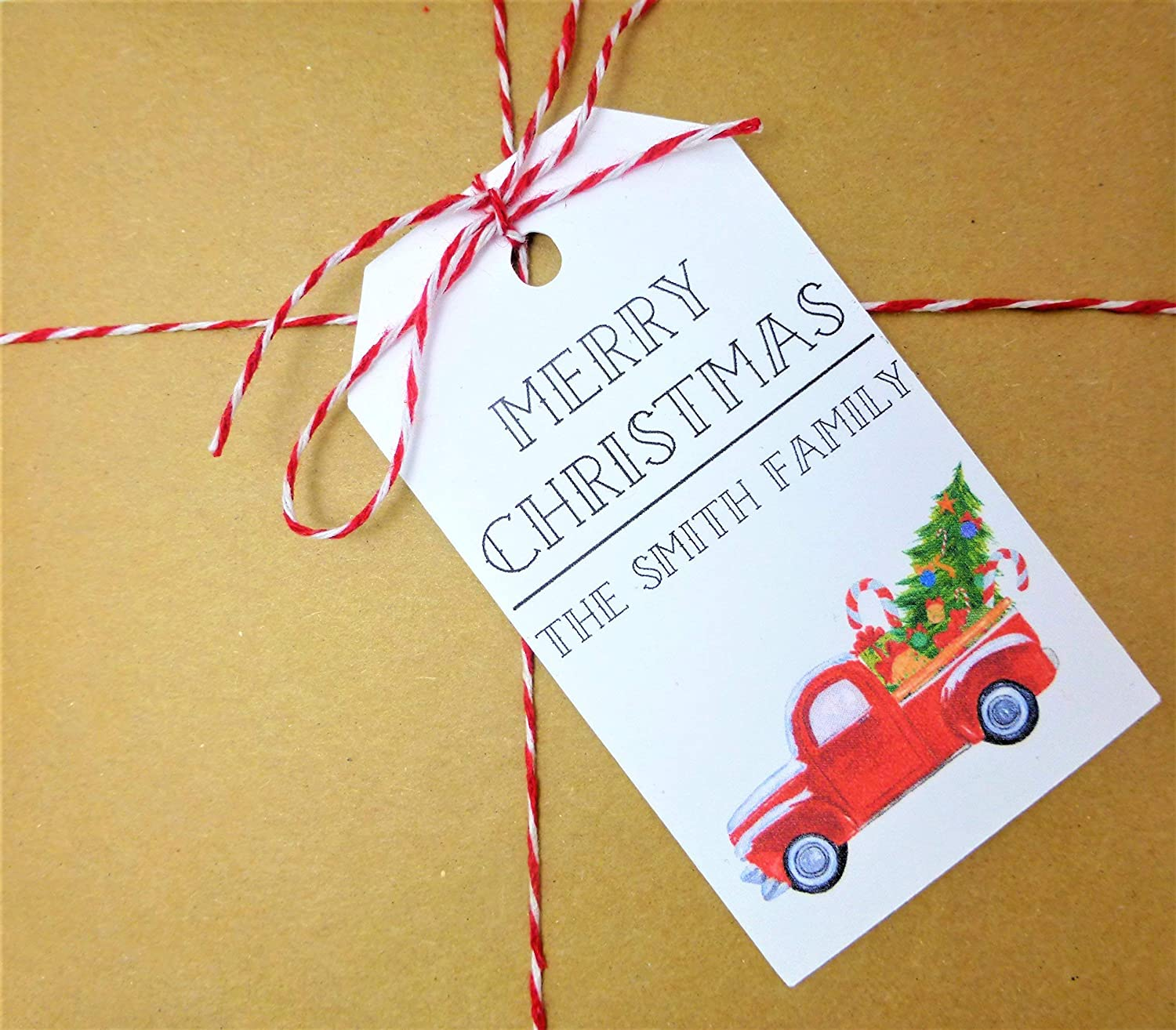 Amazon Com Christmas Tags Personalized Little Red Truck Tag Truck