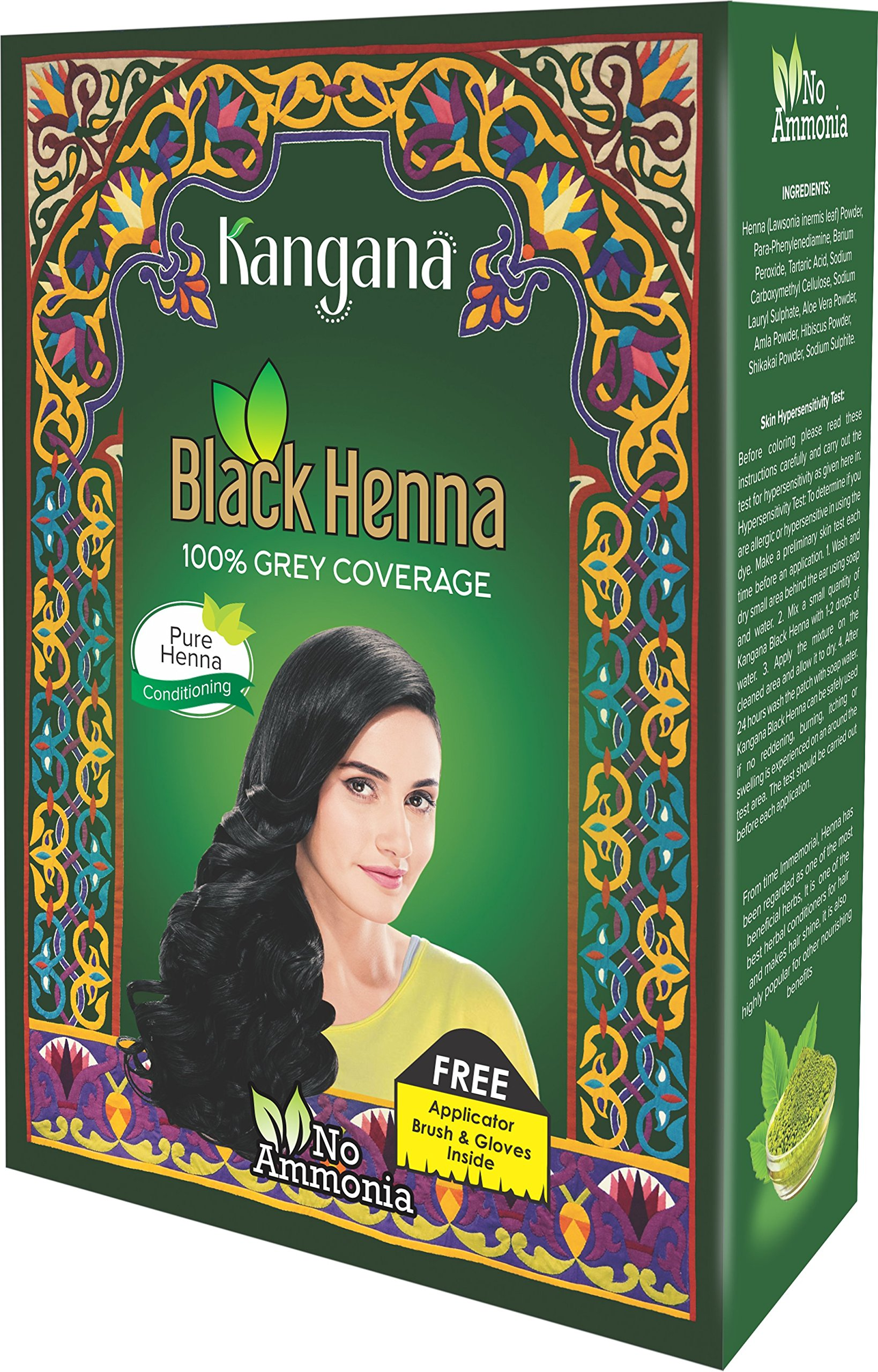 Kangana Black Henna Powder for 100% Grey Coverage - Natural Black Henna Powder for Hair Dye/Color Pack of 6-60g (2.11 Oz) by Kangana
