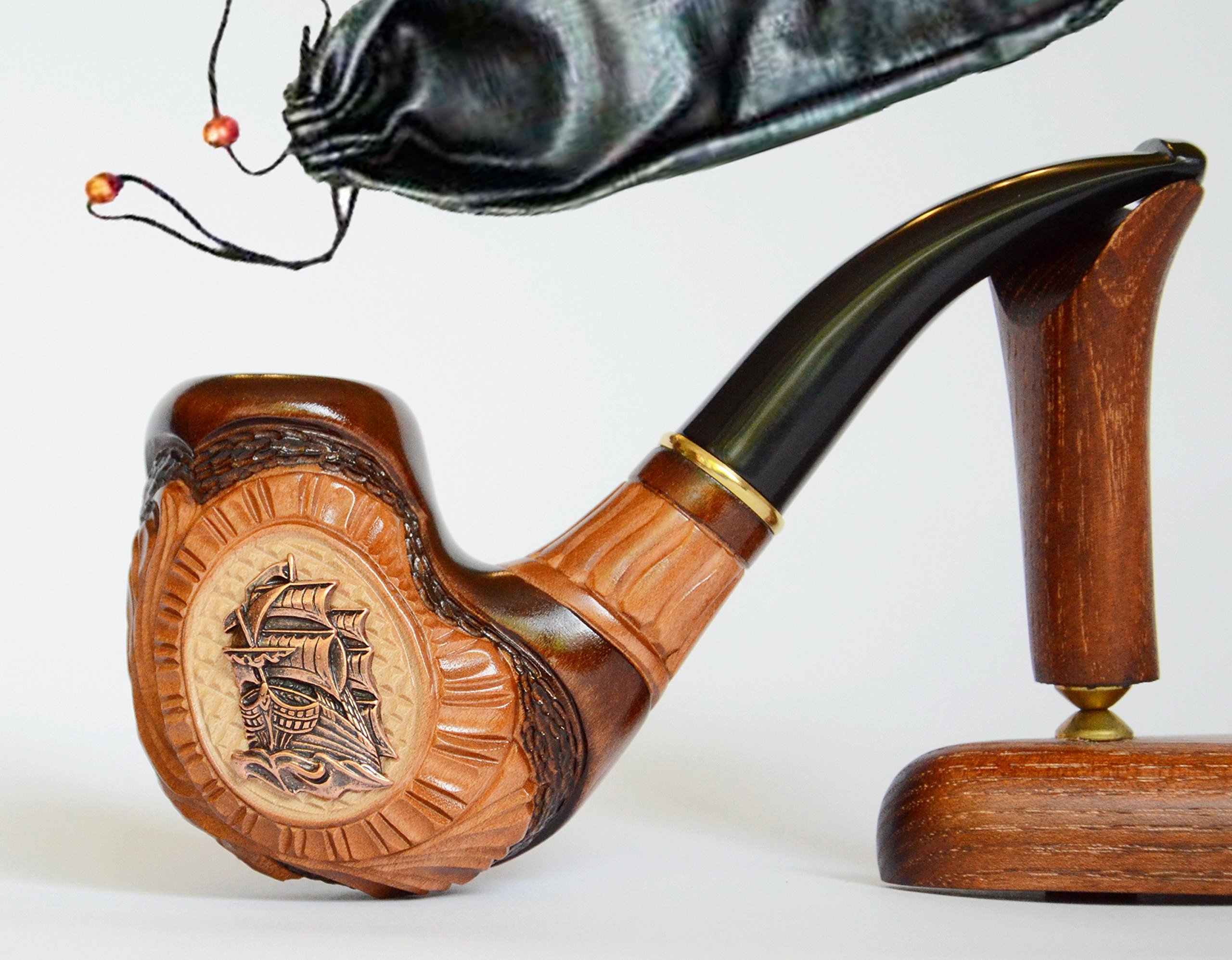 """""""Ship III"""" pear wood handmade wooden tobacco pipes smoking pipe for 9 mm filter + Pouch"""