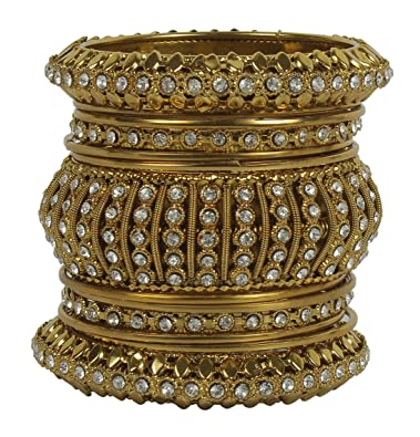 MuchMore Unique Traditional Indian Bollywood Style Antique Gold Plated Polki Bangle Jewellery NejnFMB4GO