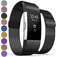 Proworks Milanese FitBit Charge 2 Strap | Metal Replacement Band for the FitBit Charge 2 with Fully Adjustable Milanese Loop Design, Brushed Stainless Steel Magnetic Wristband for Men & Women