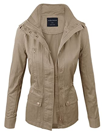 Makeitmint Women's Zip Up Military Anorak Jacket with Pockets at ...