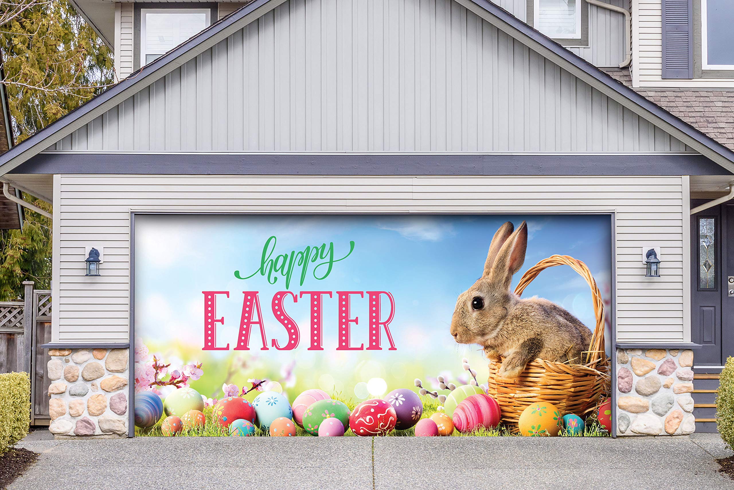 Victory Corps Happy Easter Bunny Basket - Holiday Garage Door Banner Mural Sign Décor 7'x 16' Car Garage - The Original Holiday Garage Door Banner Decor