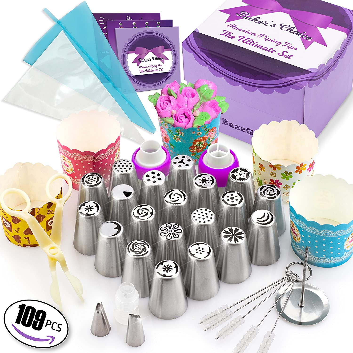 109 Pcs Russian Piping Tips Set - Cake Decorating supplies Gift Box With 109 Baking Supplies Set +22 Icing Nozzles+25 Cupcake Cups +50 Frosting Pastry Bags +5 Brushes+3 Couplers +User Guide & Rose Kit Bazz Goods