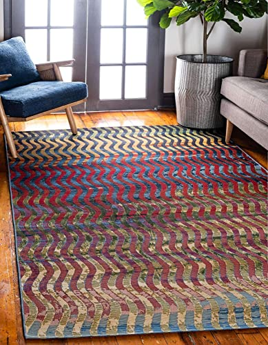 Unique Loom Outdoor Modern Collection Wavy Abstract Transitional Indoor and Outdoor Flatweave Multi Area Rug 2' 2 x 3' 0
