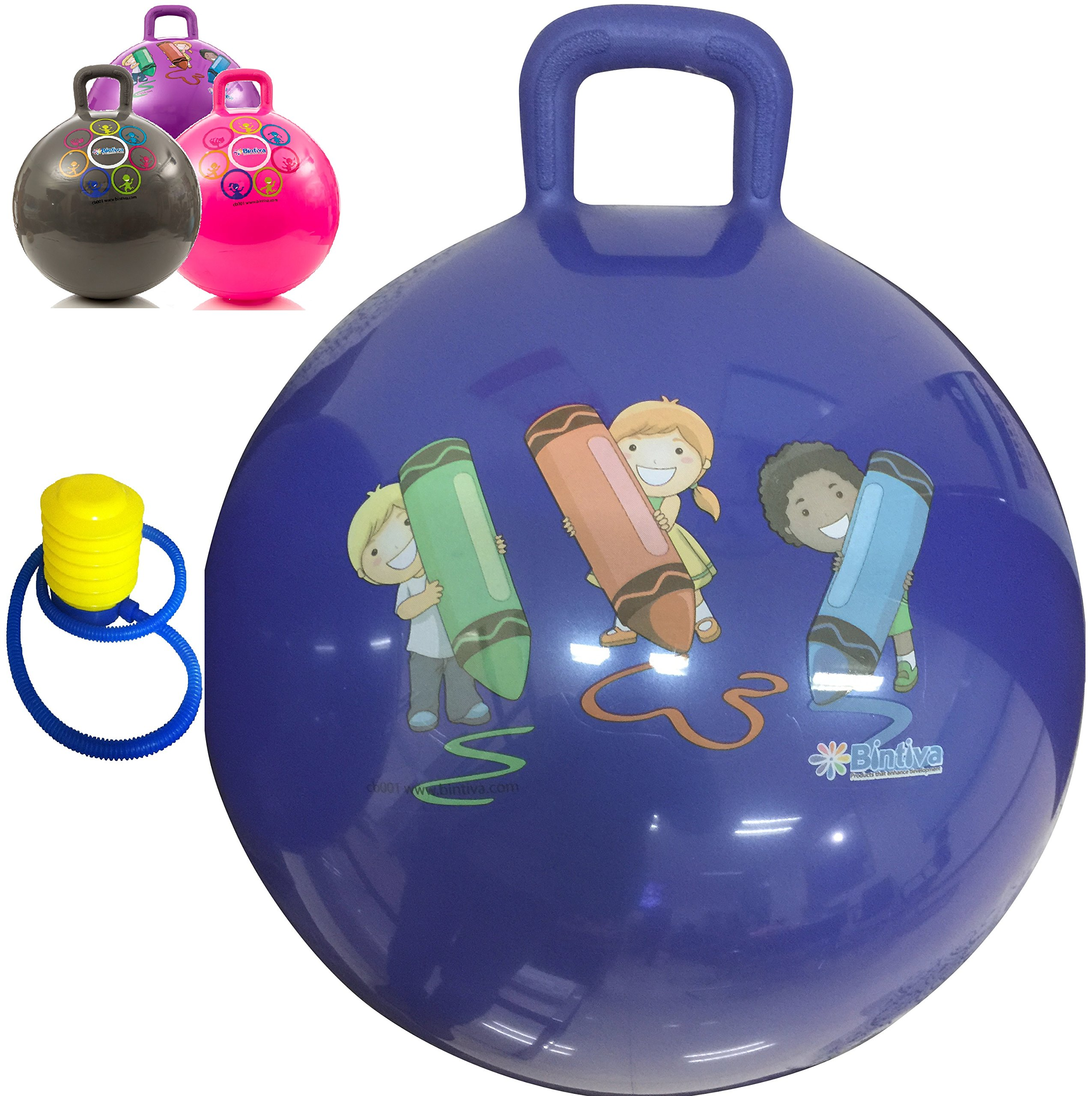 Hippity Hop 45 cm / 18 Inch Diameter Including Free Foot Pump, for Children Ages 3-6 Space Hopper, Hop Ball Bouncing Toy - 1 Ball by bintiva
