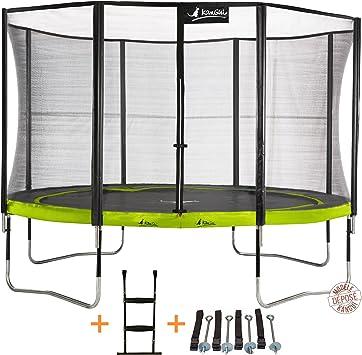Kangui – Cama elástica de jardín redonda 305 cm + red de seguridad + escalera + kit de anclaje PUNCHI Aloe 300: Amazon.es: Deportes y aire libre