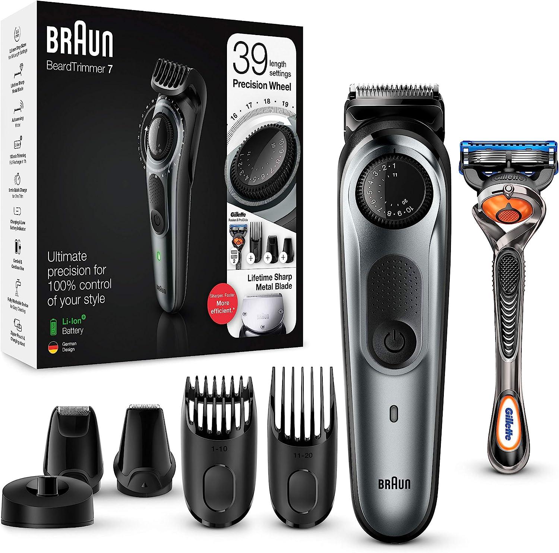 Braun BT7240 - Recortadora Barba y Cortapelos para Hombre, Cuchillas Metálicas Afiladas de Larga Duración, 39 Ajustes de Longitud, Color Negro/Gris Metalizado
