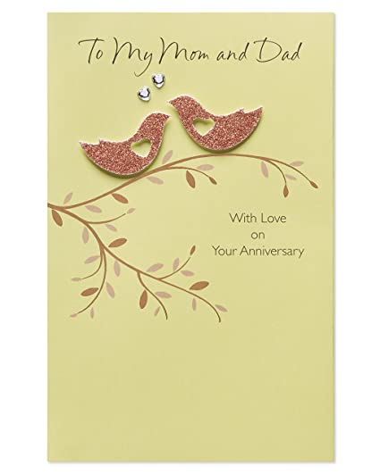 Amazon american greetings birds anniversary card for parents american greetings birds anniversary card for parents with rhinestone m4hsunfo