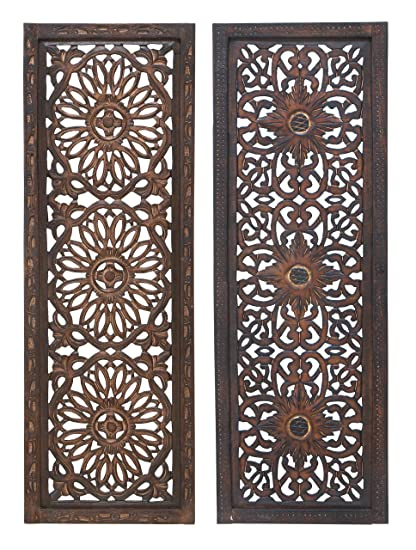 "8bdc44e050 Deco 79 34087 Large Hand-Carved Wood Wall Decor Panels Flower Wall Art,  Spring & Summer Wall Decor, Rustic Summer Decorations| Set of 2: 12"" x 36""  Each"