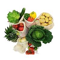 Imline Hochqualitative Obst und Gemüsebeutel aus Bio Baumwolle im 5er Set Wiederverwendbare Einkaufsbeutel mit Gewichtsangabe