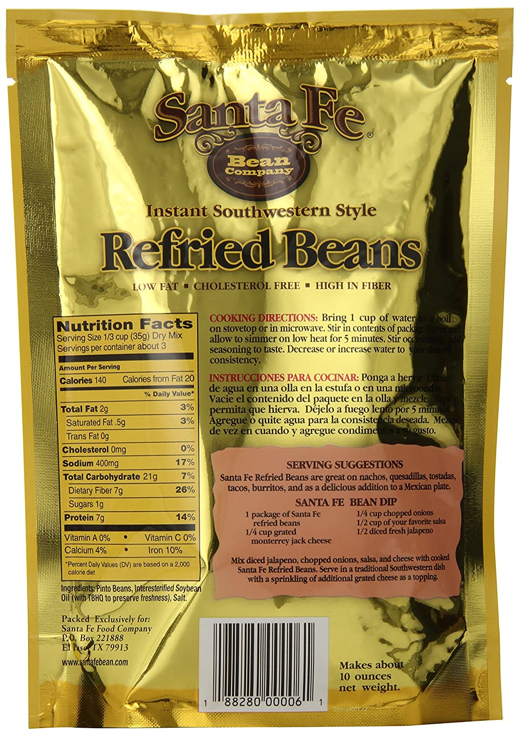 Santa Fe Bean Company Value Pack Southwestern Style Refried Beans 3.5-Ounce (Pack of 12) Instant Southwestern Style Refried Beans; High Fiber; Gluten-Free; ...